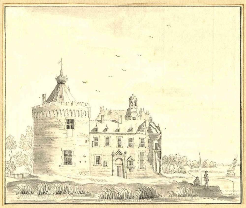 Kasteel Byland in Pannerden. Tekening Jan de Beijer, 1743